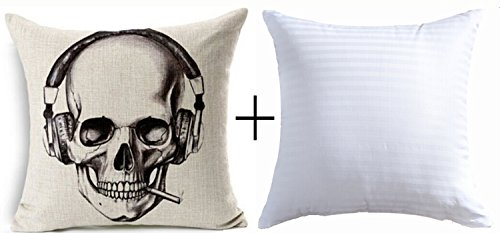 Halloween Gift Retro Sketch Skull Wearing Headphones Smoking
