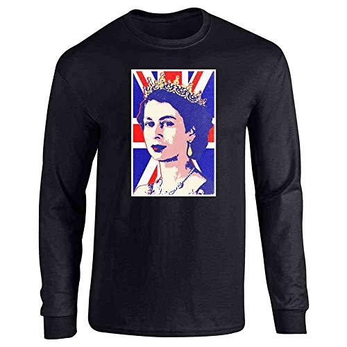 (Queen Elizabeth II Union Jack Pop Art Black L Long Sleeve T-Shirt)