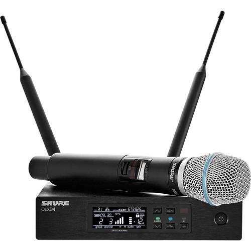(Shure QLXD24 Wireless Microphone System, G50 470-534 MHz, Includes QLXD4 Digital Wireless Receiver, QLXD2 Handheld Transmitter, BETA87A Cartridge)