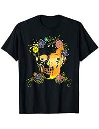 Skull + Flowers, Halloween T-shirt in Yellow, Orange