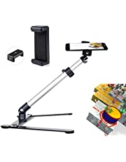 Ajustable Tripod with Cellphone Stand,Overhead Phone Mount,Camera Video Table Top Light Weight Tripod,Teaching Online Holder,Live Streaming,Online Video,Compatible with Smart-Phone