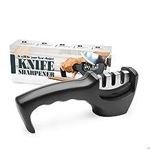 Diamond Ceramic Knife Sharpener, Amado Professional Knives Sharpener 3 Stage Sharpening System for Knives (Black)