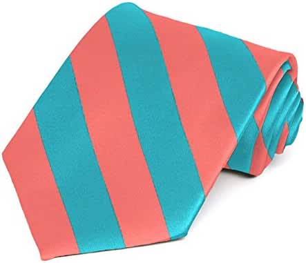 Coral and Turquoise Striped Tie