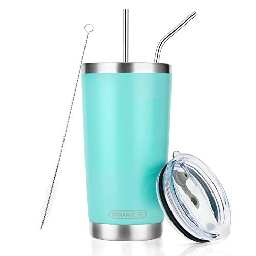 DYNAMIC SE 20oz Tumbler Double Wall Stainless Steel Vacuum Insulated Travel Mug with Splash-Proof Lid Metal Straw and Brush