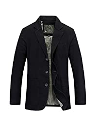 Newbestyle Men's Casual Solid Cotton Twill Suit Three-Buttons Blazer Jacket