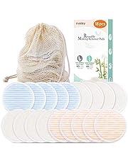 Homtiky Discos Desmaquillantes Reutilizables, 18 Discos Desmaquillantes con Bolsa de Lavado, Desmaquillante Facial Lavable, Hechos de Fibra de Bambú, Aptos Para Todo Tipo de Pieles y Bebés