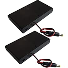 DC 5.5x2.1mm Male Connector 8x1.5V 12V Battery Holder Case Box Wired ON/OFF Switch w Cover Pack of 2