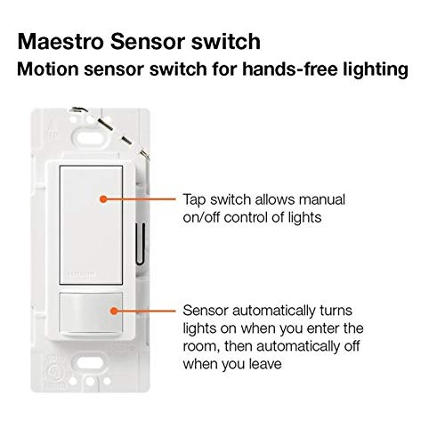 Lutron Maestro Motion Sensor Switch, No Neutral Required, 250 Watts, Single-Pole (2 Pack), MS-OPS2-2-WH, White