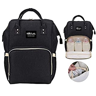 HappyLuoka Diaper Bag Backpack Multi Colors (Regular Bag, Black)