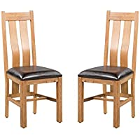 Trithi Furniture - Rancho REAL Oak Dining Chair with Upholstered Seat - Set of 2 (Light Dark Oak)