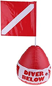 Dive Float & Flag, Inflatable Surface Marker Buoy Ball Signal Floater for Scuba Diving, Snorkeling, Spearf