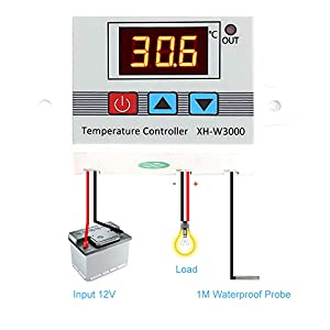 Digital Thermostat DC 12V 120W Temperature Controller -30-220? Thermometer Alarm Temp Regulator Heating Cooling with NTC Sensor (Tamaño: 30-220?)