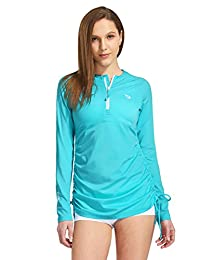 Baleaf Women's Long Sleeve Half-Zip Sun Protection Rashguard Side Adjustable
