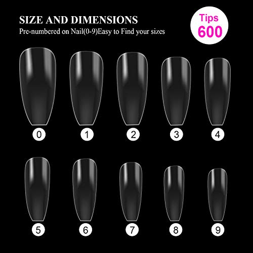 MAQUITA 600PCS Clear Acrylic Nail Tips and French Style Fake Nails Kit Full Cover False Ballerina Nail Tip 10 Different Sizes with Plastic Box for DIY Salon Nail Art