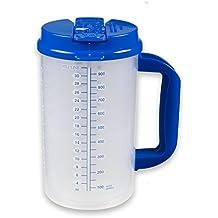 32 oz Double Wall Insulated Hospital Mug - Cold Drink Mug - Large Carry Handle - Includes Straw (1, Blue)