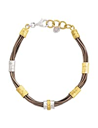 Silpada 'Tan Lines' Sterling Silver, Brass, and Genuine Leather Bracelet, 8""