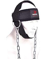 DMoose Fitness Halssele för tyngdlyftning, motståndsträning eller skadeåterhämtning med lång stålkedja och neopren huvudmössa, nacktränare för att förbättra muskelstyrkan.