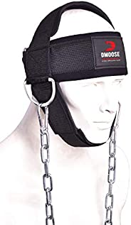 DMoose Fitness Neck Harness for Weight Training & Injury Recovery, Long Steel Chain and D-Rings, Neck Work