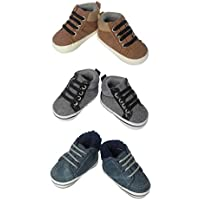 Little Me 3 Pack Soft Sole Crib & Pre Walker Baby Boy Shoes- Baby Boys High Top Boots- for Newborn, Infant & Toddler
