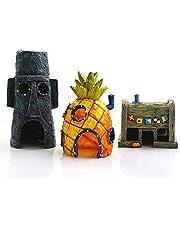 LIHENG Decoração de aquário, enfeite de aquário de peixe 3D, decoração de aquário de peixes, coluna de resina, desenho animado fofo, abacaxi, decoração de casa de lulas (3 peças)