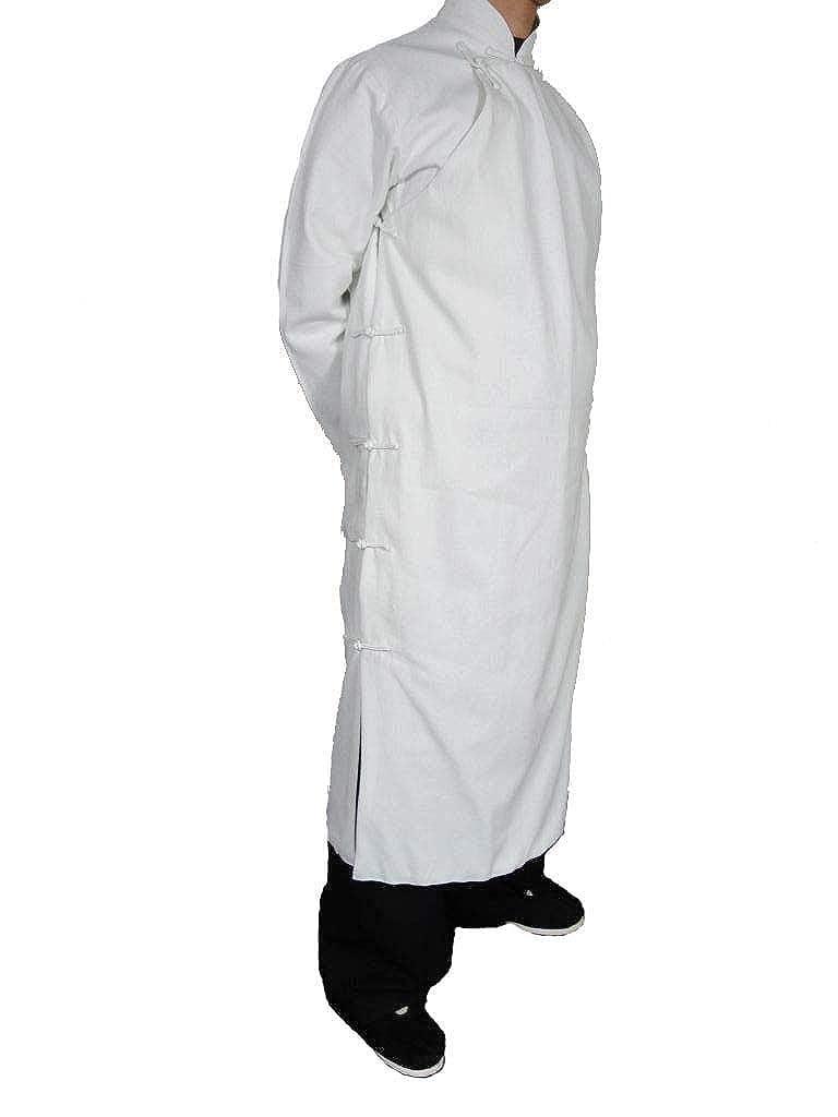 オーダーメード伝統的中国礼服上等リネン生地手作りチャイナカラー付き白プレミアムコート#104  M