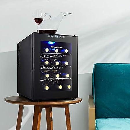 CLING Refrigerador de 12 Botellas refrigerador de Vino Enfriador de encimera Integrado o Independiente Panel táctil Externo Diseño de Vidrio de Espejo Silencioso