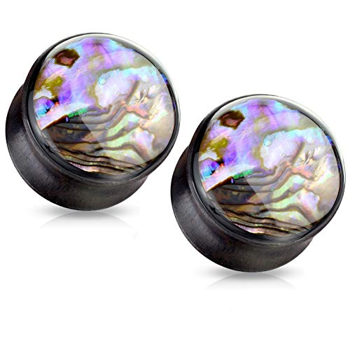 Pierced Owl Abalone Shell Inlaid Front Facing Natural Wood Saddle Plugs, Sold as Pair (12mm (1/2