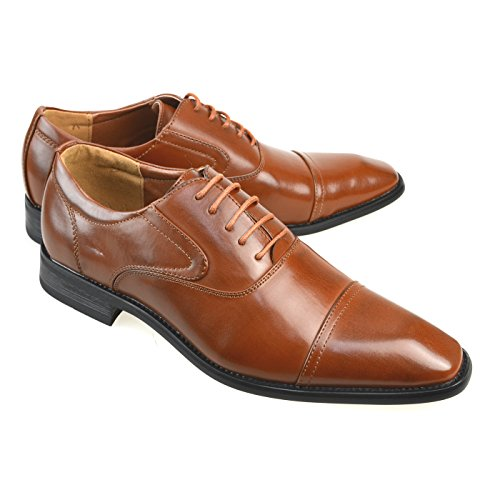 MM/ONE Mens Blucher Derby Shoes for Men Plain Toe Oxford Shoes Dress shoes Formal Dark Brown 41 EU (US Men's 8.5 M) (Shoes Plain Toe Mens Blucher)