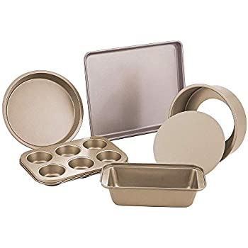 E-Gtong 6-Piece Nonstick Bakeware Set, Toaster Oven Baking Pan Set with Nonstick Coating, Includes Large Cookie Sheet/Baking Sheet, Round Baking Pan, Loaf Pan, Round Cake Pan, 6-Cup Mini Muffin Pans