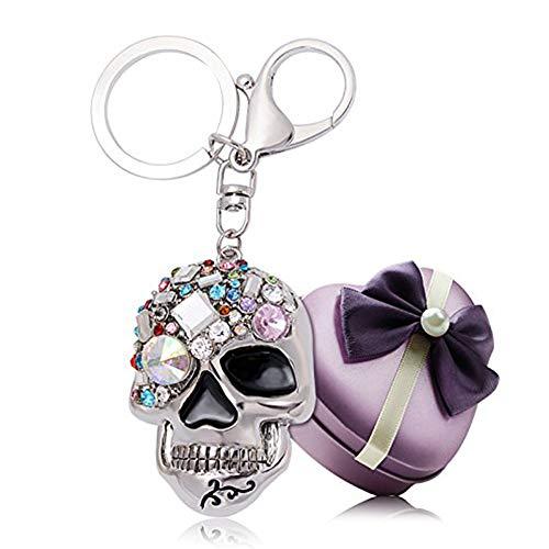 YGMONER Crystal Keychain Car Keyring & Bag Accessory Free with Gift Box - Crystal Skull Ring