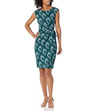 Lark & Ro womens Cap Sleeve Bateau Neck Wrap Dress