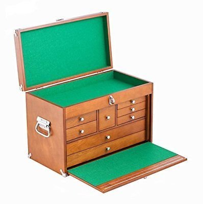 Chest Toolbox Drawer Tool Lock Wooden Storage 8 Pull-Out Drawers Jewelry Art