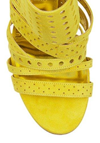 Keltainen Korkokengät Naisten Sandaali Rooma Uusi Ontto Stiletto Nauhakenkä Peep Exing Kenkiä Toe q1dwPWcXx
