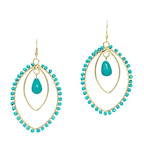 [Mela Artisans MAER045 Spirit in Earrings, Turquoise] (Indian Costume Ideas For Women)