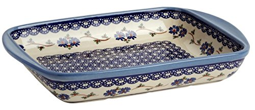 "Polish Pottery Blue Floral Chain Baking or Serving Dish, 13.25""L x 10""W x 2""H"