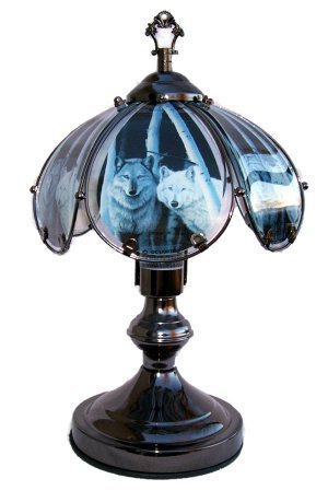 Wolf in Birch Trees Small Touch Lamp