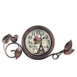 Dannto Vintage Shabby Metal Craft Table Clock with Bird Battery Operated Silent Clock (One Size, Black) …