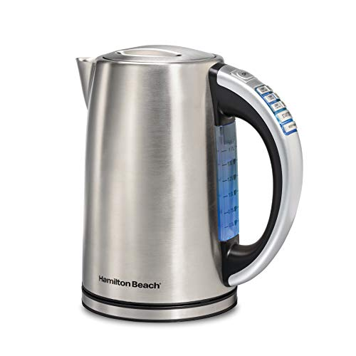 Hamilton Beach 1.7 Liter Variable Temperature Electric Kettle for Tea and Water, Cordless, LED Indicator, Keep Warm, Auto-Shutoff and Boil-Dry Protection, Stainless Steel (41020R),