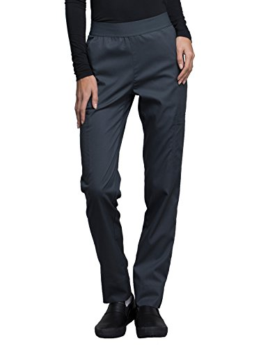 Cherokee Luxe CK040 Contemporary Fit Natural Rise Tapered Leg Pant Pewter L Petite