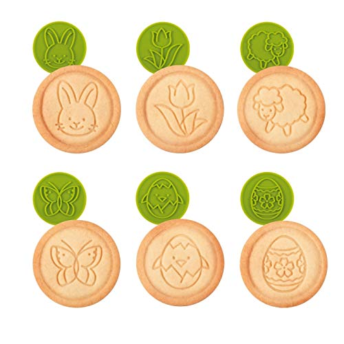 Easter Silicone Cookie Stamp Set,Include Easter Egg,Chick Out of Shell,Butterfly,Flower,Bunny and Sheep, 3D DIY Cookies…