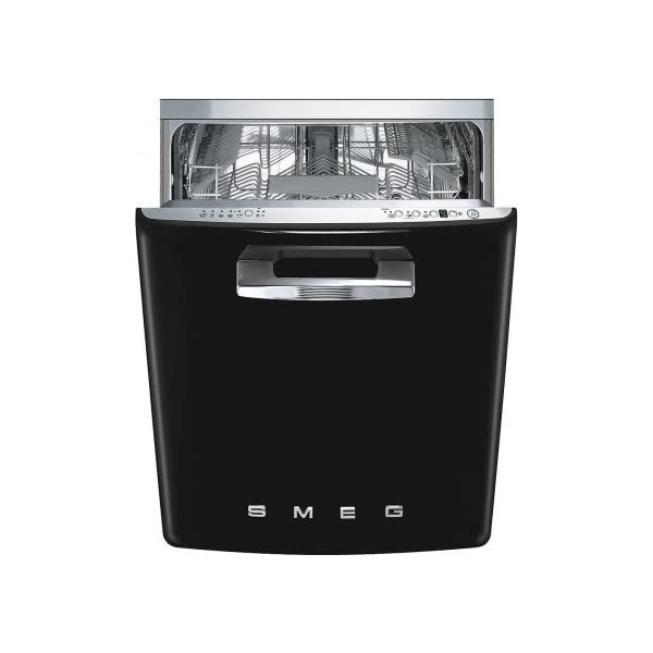 "Smeg 24"" 50s Retro Style Fully Integrated Dishwasher with 13 Place Settings Full Size Tub 10 Wash Cycles, Black 1"