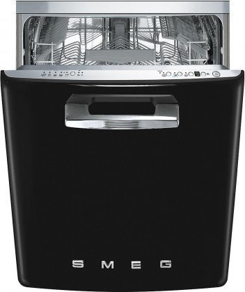 Smeg 24″ 50s Retro Style Fully Integrated Dishwasher with 13 Place Settings Full Size Tub 10 Wash Cycles, Black