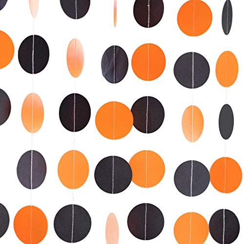 Bobee Black and Orange Paper Garland 70 feet 5 Strands Party Decoration (5 Strands, 14 feet Each, 70 feet Total)]()