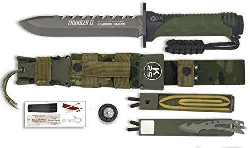 K25 Cuchillo Thunder II Camo Verde 17 para Caza, Pesca, Camping, Outdoor, Supervivencia y Bushcraft K25 32134 + Portabotellas de regalo