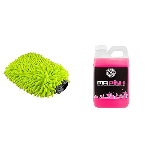 Chemical Guys  MIC_493 Chenille Microfiber Premium Scratch-Free Wash Mitt and CWS_402 Mr. Pink Super Suds Shampoo & Superior Surface Cleanser (64 oz), 64. Fluid_Ounces