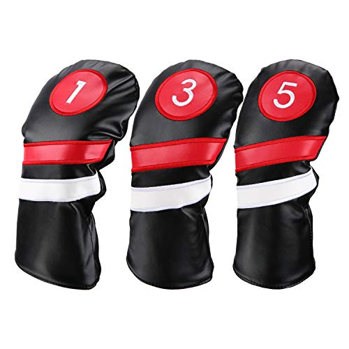 (LONGCHAO Golf Head Covers 3pcs/Set Driver Fairway Wood Headcovers Black Red and White Vintage PU Leather 1 3 5 Driver and Fairway Head Covers for Golf Club)