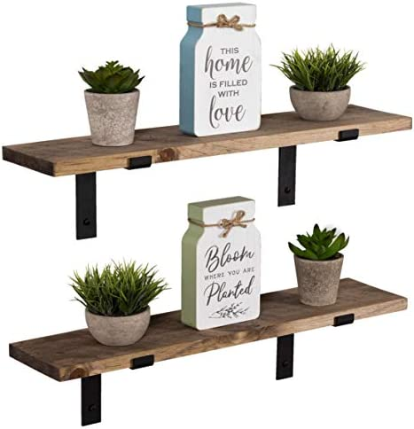 Imperative D cor Rustic Wood Floating Shelves Wall Mounted Storage Shelf with L Brackets USA Handmade Set of 2 24 x 5.5in Special Walnut