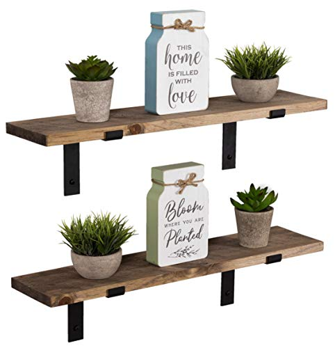 (Imperative Décor Rustic Wood Floating Shelves Wall Mounted Storage Shelf with L Brackets USA Handmade| Set of 2 (24 x 5.5in) (Special Walnut))
