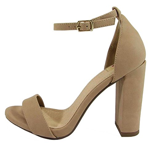 Delicious Women's Evening High Heels Open Toe Ankle Strap Platform Casual Stiletto Pumps Mve Shoes,9 B(M) US,Natural Nb