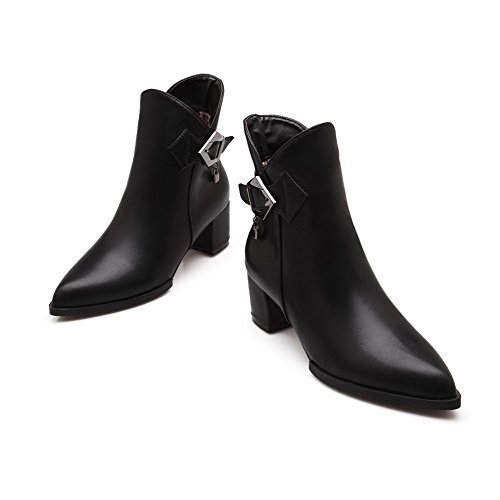 Pointed Soft Women's Kitten Zipper Material Boots Black Toe WeiPoot Closed Heels Low top nIqUZWFS